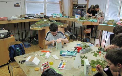 Práce s žáky při stavbě krajiny - 2013
